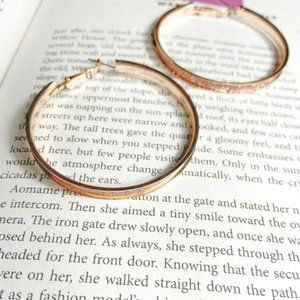 ROSE GOLD PAVE LARGE HOOPS